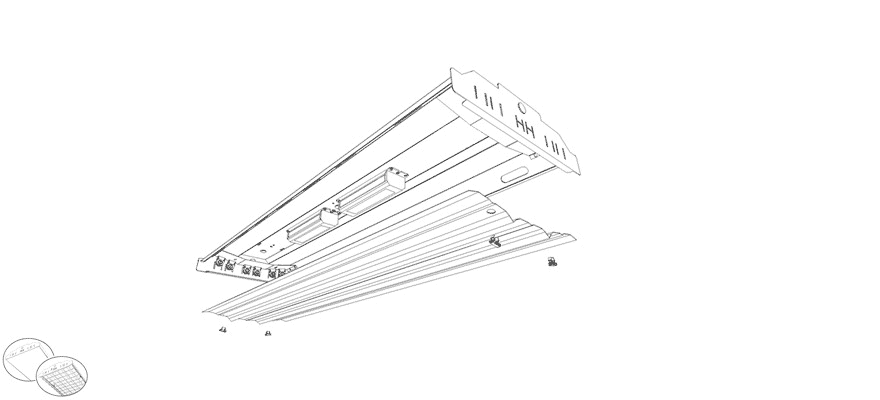 4ft 6 Lamp T8 Industrial High-Bay Lighting Fixture Features