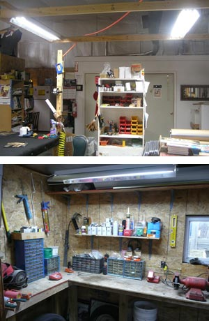 Shop light fixture for work bench and task lighting